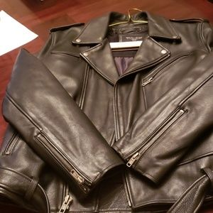 Leather biker jacket size large